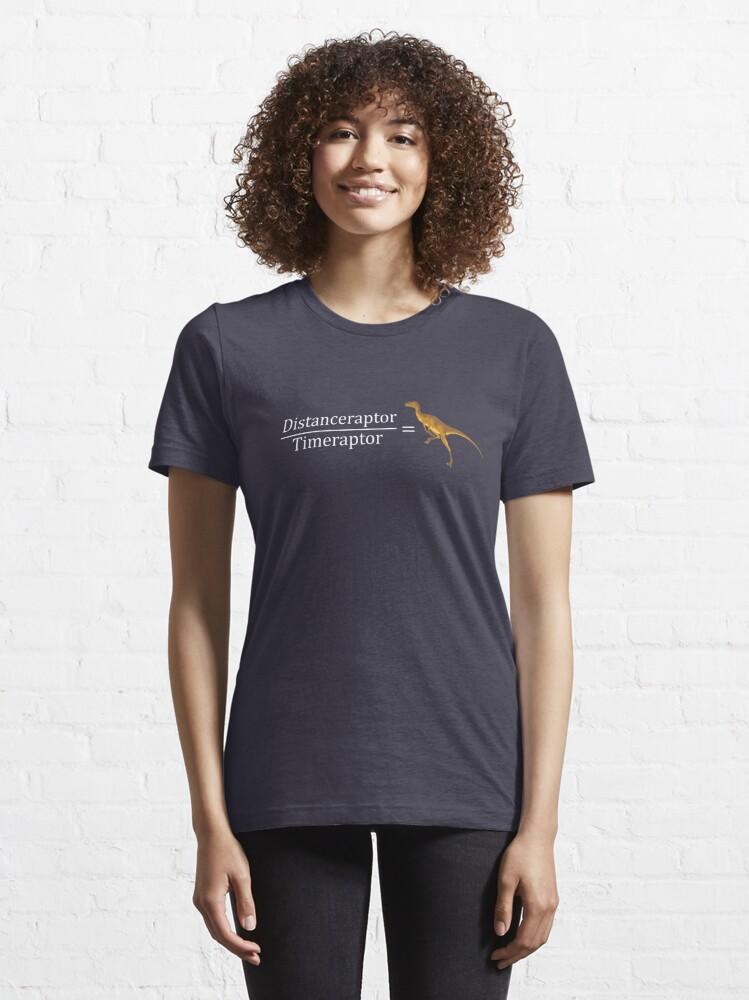 Alternate view of Velociraptor Math - Funny Dinosaur Velocity Formula Essential T-Shirt