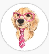 Dog pink glasses and tie Sticker