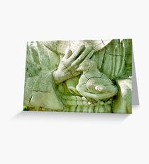 St. Francis Holding a Bird, Vintage Statue  Greeting Card