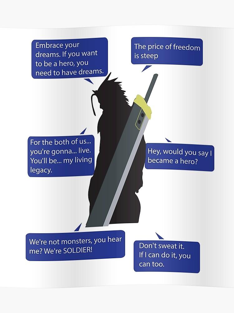 Zack Fair Final Fantasy VII Quotes | Poster
