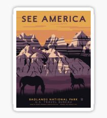 Vintage Travel Poster - See America: Badlands National Park Sticker