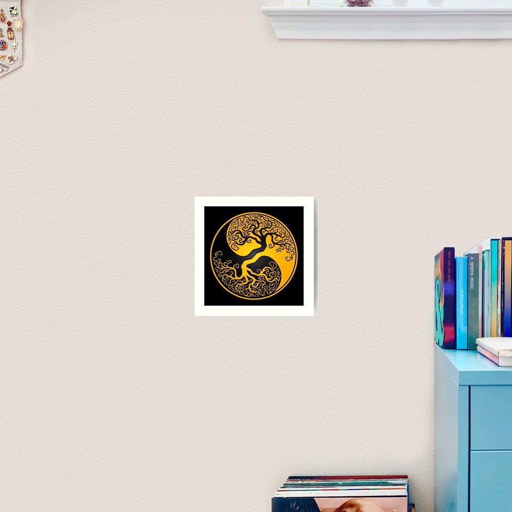 Yellow and Black Tree of Life Yin Yang Art Print