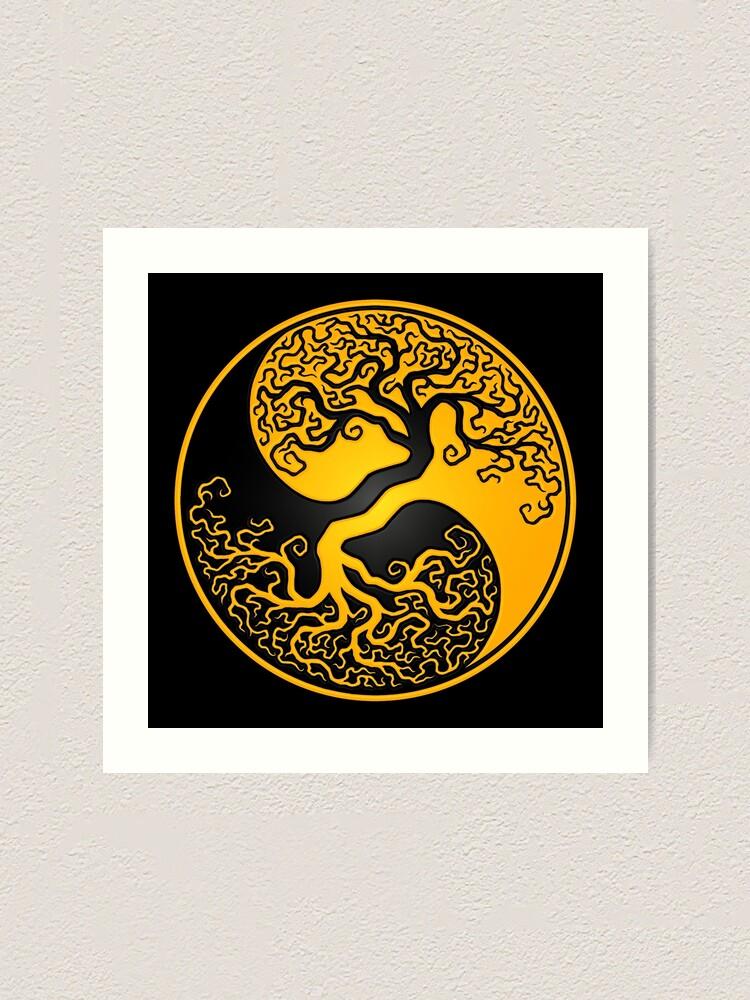 Alternate view of Yellow and Black Tree of Life Yin Yang Art Print