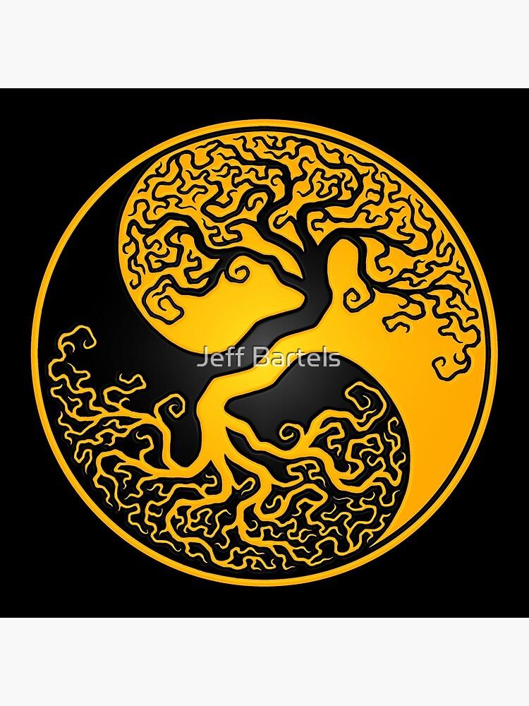 Yellow and Black Tree of Life Yin Yang by JeffBartels