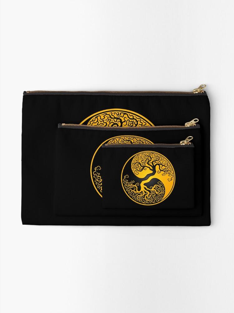 Alternative Ansicht von Gelber und schwarzer Baum des Lebens Yin Yang Täschchen