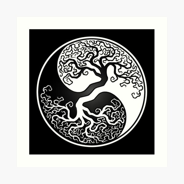 White and Black Tree of Life Yin Yang Art Print