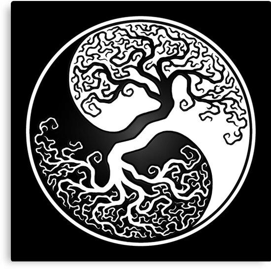 Lienzos árbol De La Vida Blanco Y Negro Yin Yang De Jeff Bartels