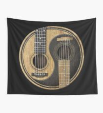 Old and Worn Acoustic Guitars Yin Yang Wall Tapestry