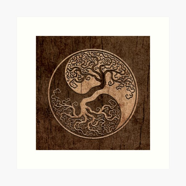 Rough Wood Grain Effect Tree of Life Yin Yang Art Print