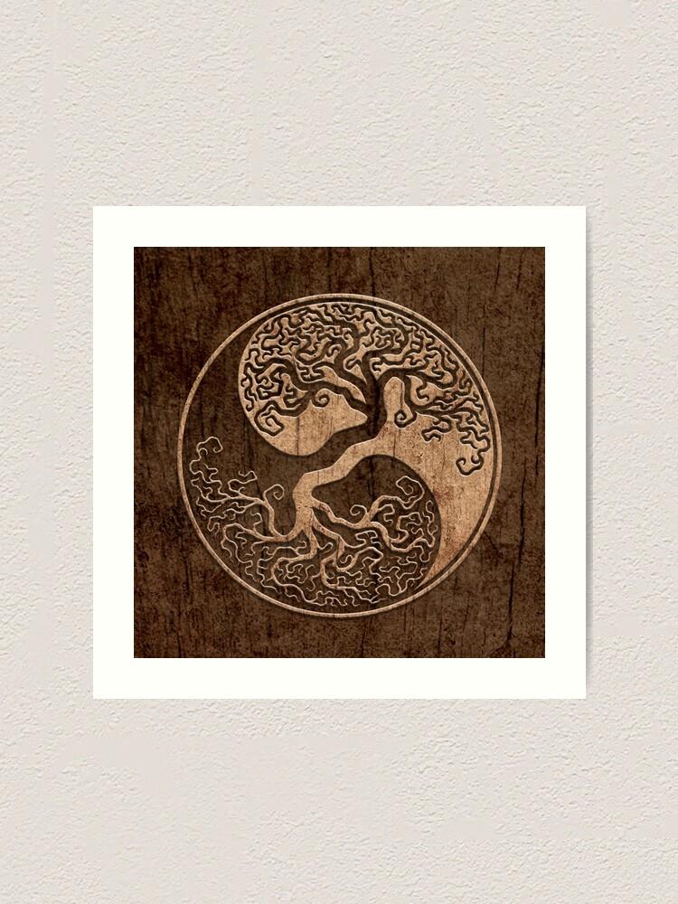 Alternate view of Rough Wood Grain Effect Tree of Life Yin Yang Art Print