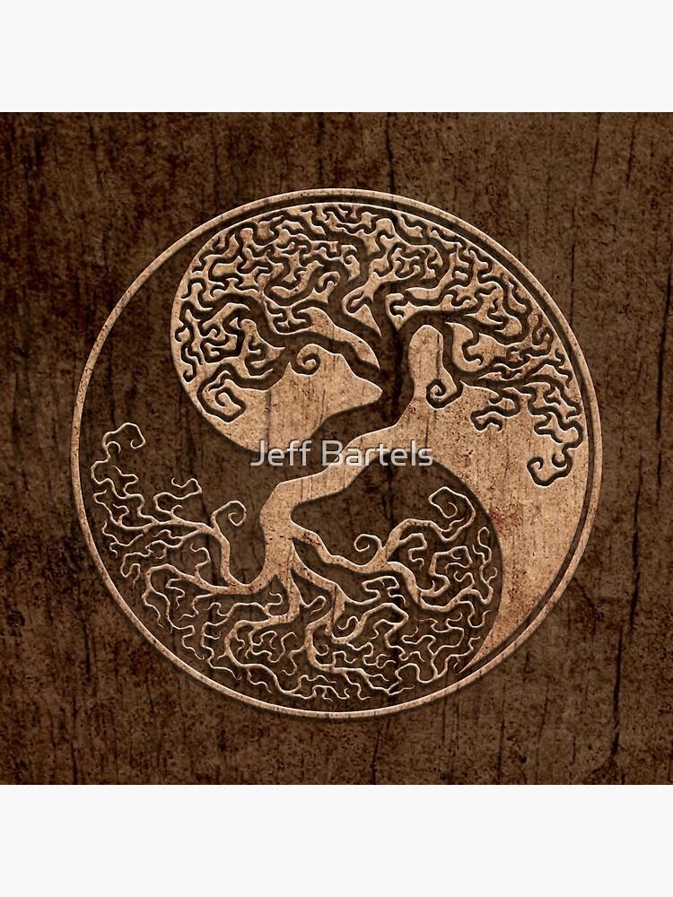 Rough Wood Grain Effect Tree of Life Yin Yang by JeffBartels