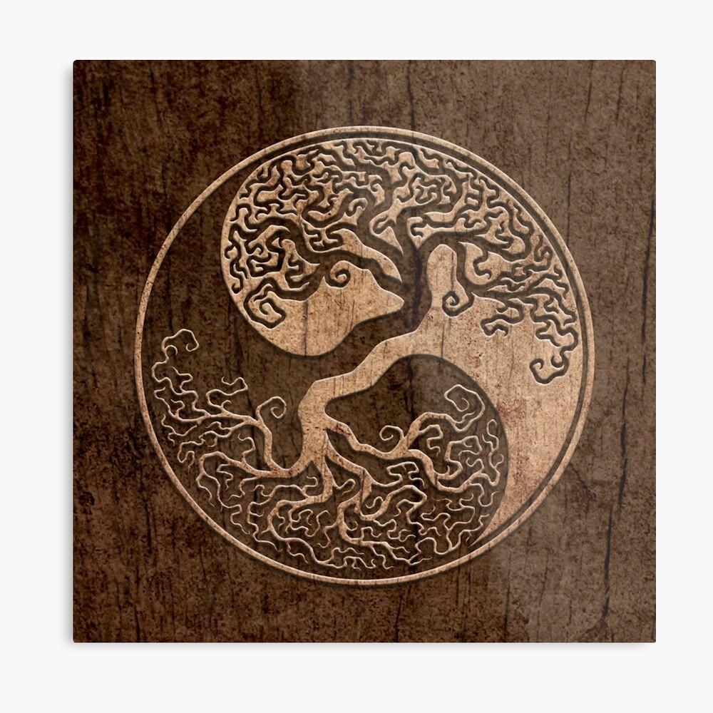 Grober Holzmaserung-Effekt-Baum des Lebens Yin Yang Metallbild