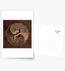Rough Wood Grain Effect Tree of Life Yin Yang Postcards