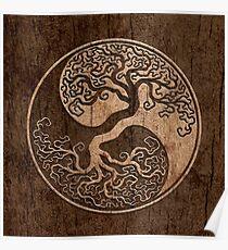 Rough Wood Grain Effect Tree of Life Yin Yang Poster