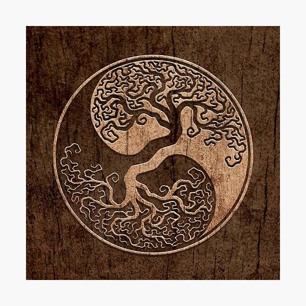 Rough Wood Grain Effect Tree of Life Yin Yang Photographic Print