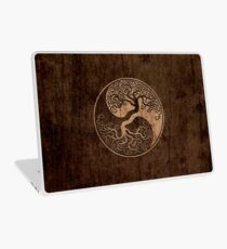 Rough Wood Grain Effect Tree of Life Yin Yang Laptop Skin