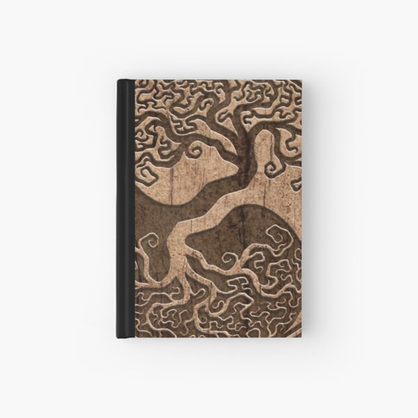 Rough Wood Grain Effect Tree of Life Yin Yang Hardcover Journal