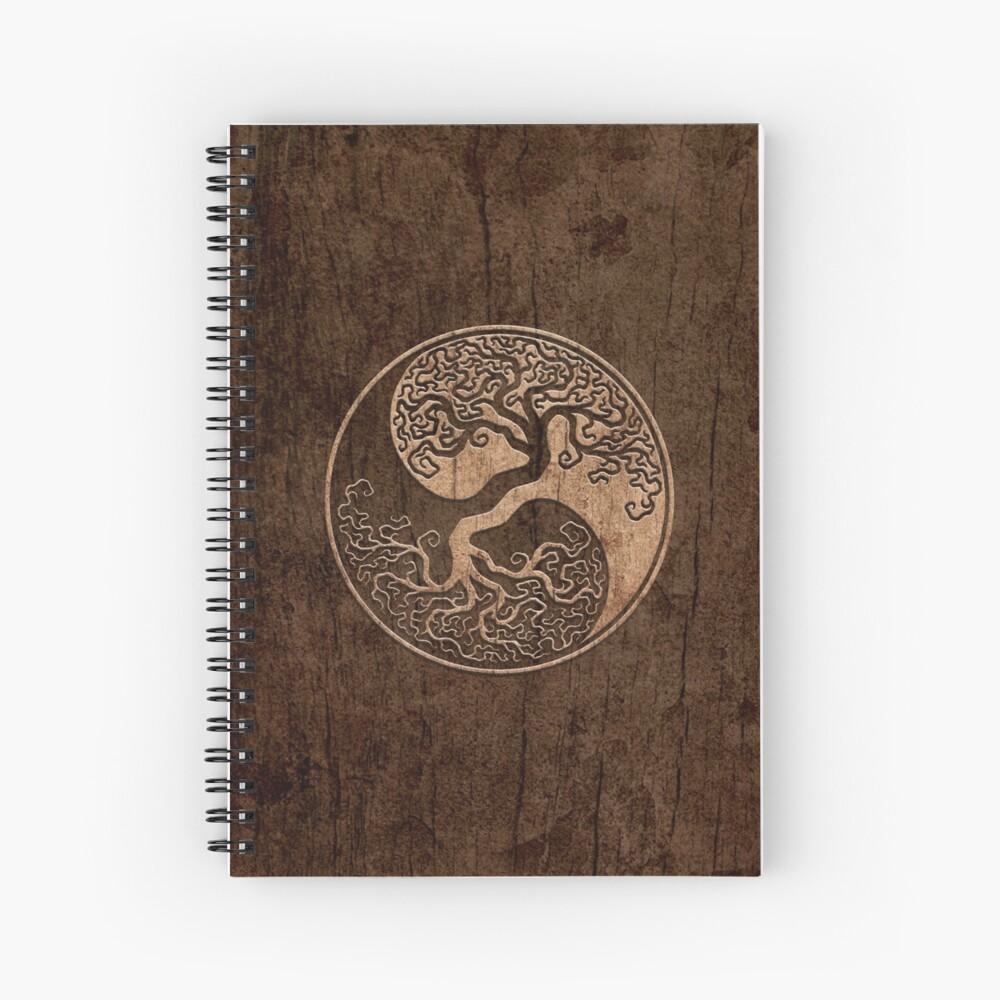 Grober Holzmaserung-Effekt-Baum des Lebens Yin Yang Spiralblock
