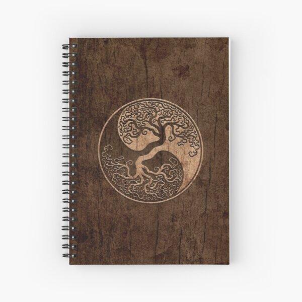 Rough Wood Grain Effect Tree of Life Yin Yang Spiral Notebook