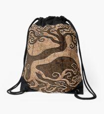 Rough Wood Grain Effect Tree of Life Yin Yang Drawstring Bag