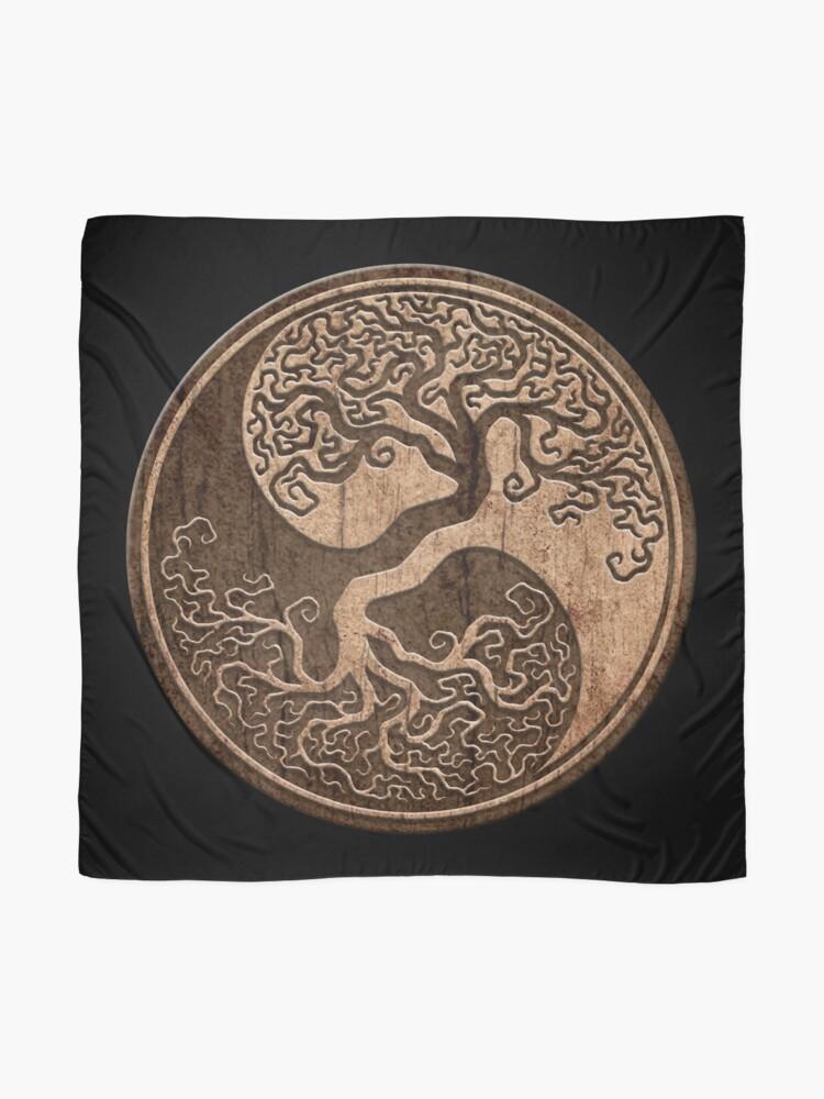 Alternative Ansicht von Grober Holzmaserung-Effekt-Baum des Lebens Yin Yang Tuch