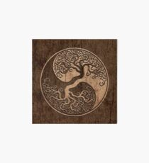 Rough Wood Grain Effect Tree of Life Yin Yang Art Board Print