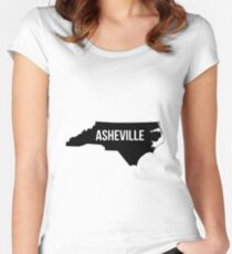 Asheville, North Carolina Silhouette Women's Fitted Scoop T-Shirt