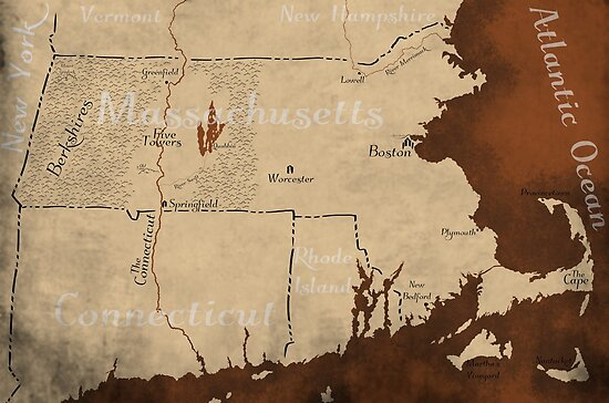 Massachusetts Fantasy Map by Tim McLaughlin