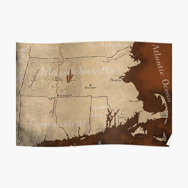 Massachusetts Fantasy Map Poster