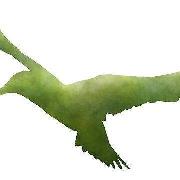 Hummingbird Silhouette (Green) by becSamways