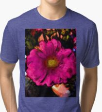 Pink Flower with a Gold Heart Tri-blend T-Shirt