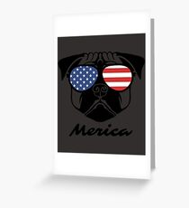 Merica Memorial Day Pug Shirt Greeting Card