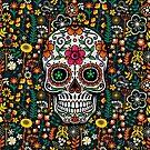 Colorful Sugar Skull & Retro FlowersPattern Background by artonwear