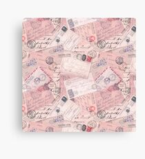 Nostalgic Letters Collage Soft Pink Canvas Print