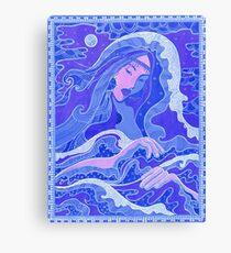 The Wave, Mermaid, Fantasy art, Asian Girl, Blue & Pink  Canvas Print