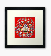 Pawsley (cat paisley) - super bright red Framed Print