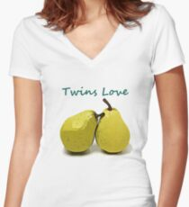 Twins Love Pears!  Women's Fitted V-Neck T-Shirt