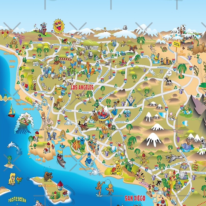 Cartoon Map Of Southern California Leggings By Dave Stephens - Map of southern california