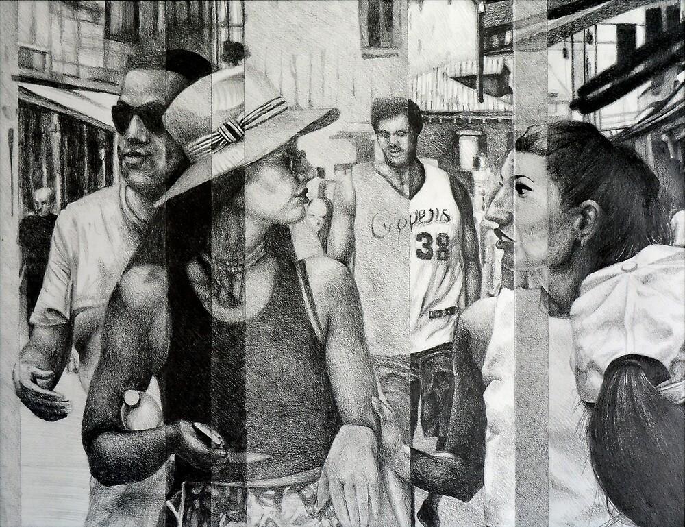 The promenade, 2015, 50-65cm, graphite crayon on paper by oanaunciuleanu