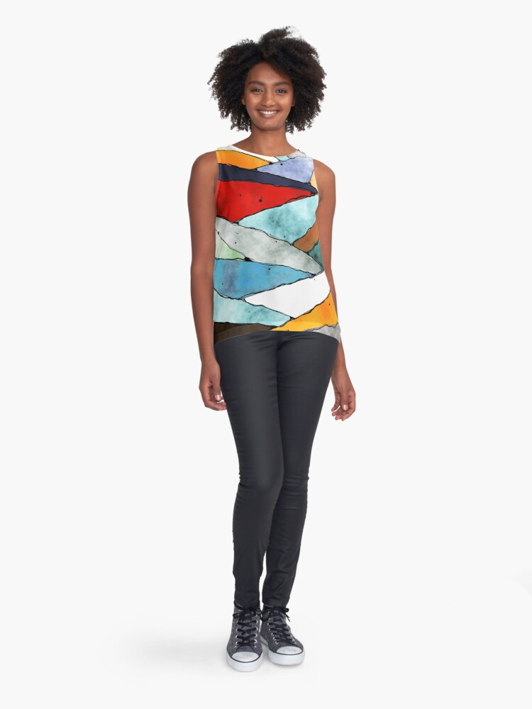 Alternate view of Angles of Textured Colors Sleeveless Top