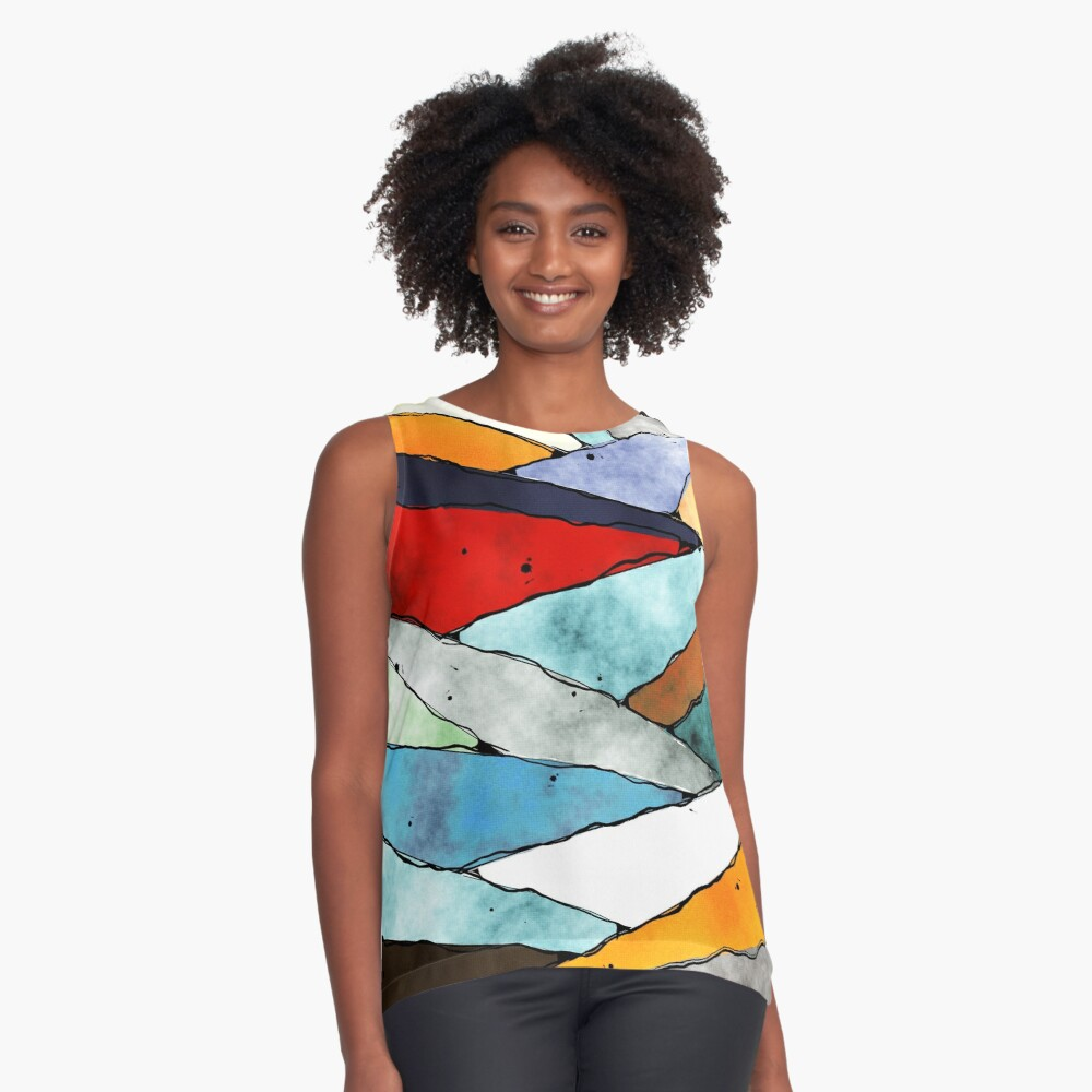 Angles of Textured Colors Sleeveless Top