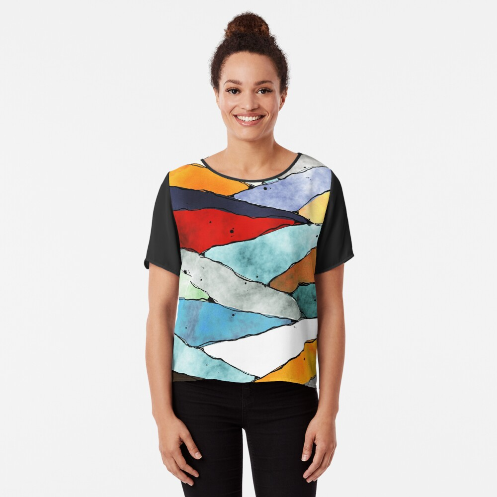 Angles of Textured Colors Chiffon Top