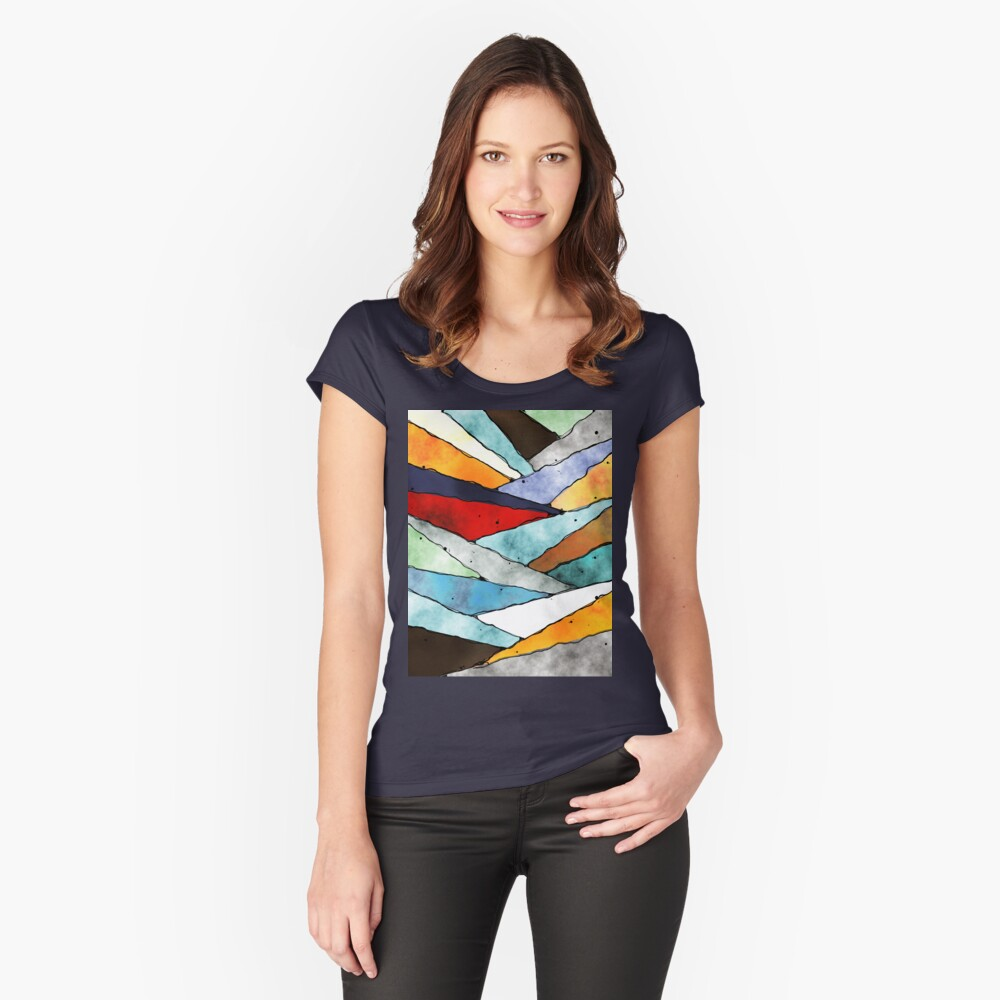 Angles of Textured Colors Fitted Scoop T-Shirt