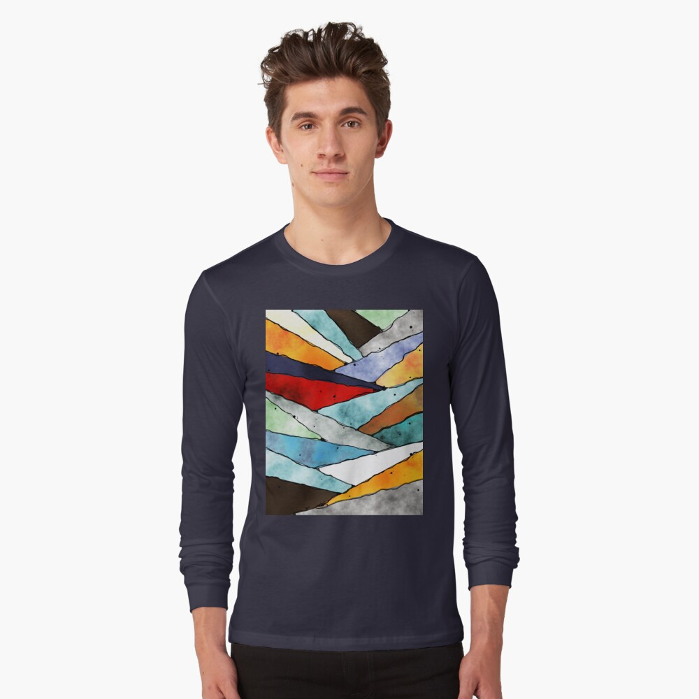 Angles of Textured Colors Long Sleeve T-Shirt