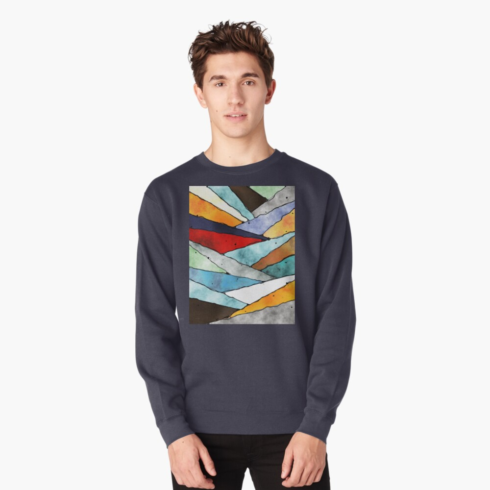 Angles of Textured Colors Pullover Sweatshirt