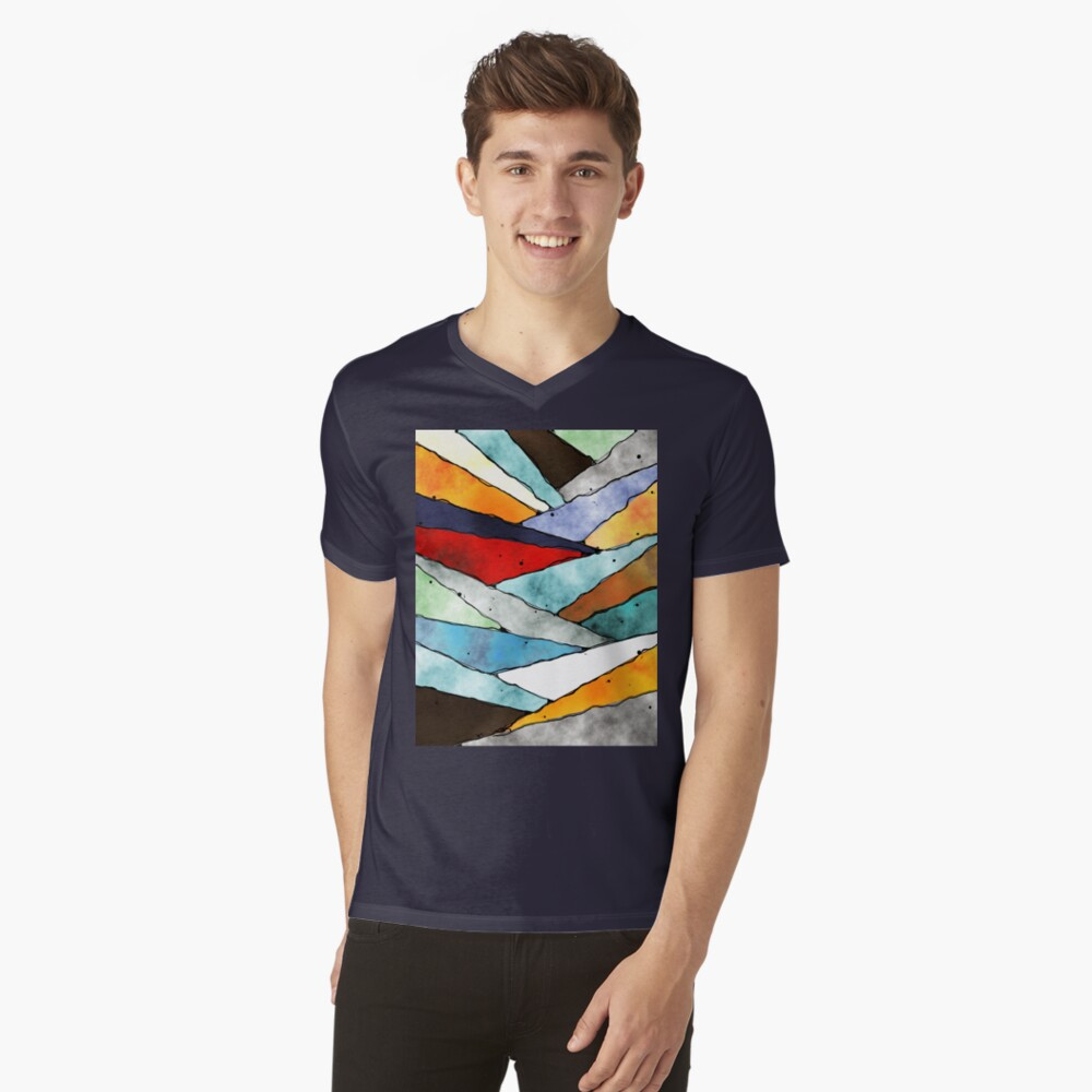 Angles of Textured Colors V-Neck T-Shirt