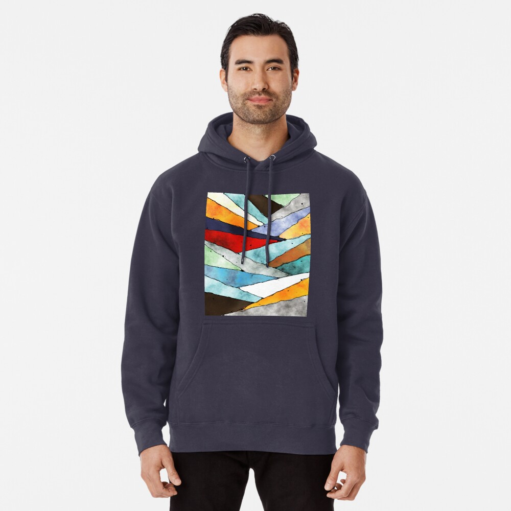 Angles of Textured Colors Pullover Hoodie