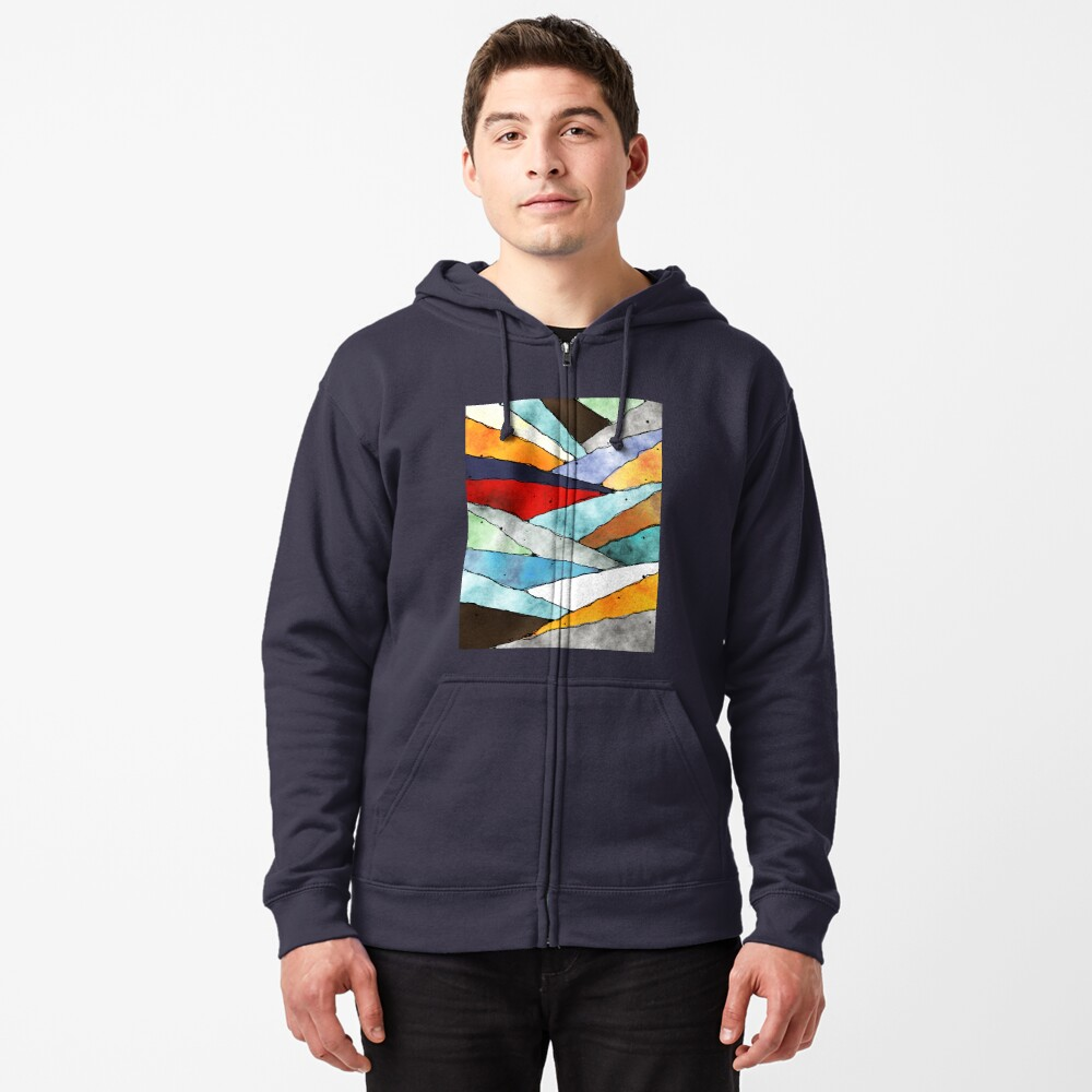 Angles of Textured Colors Zipped Hoodie