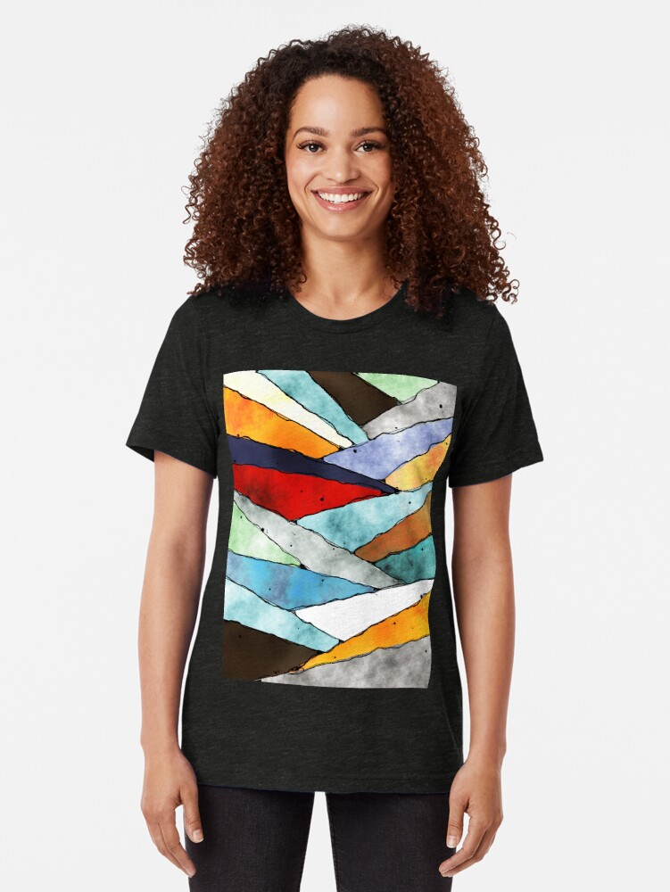 Alternate view of Angles of Textured Colors Tri-blend T-Shirt