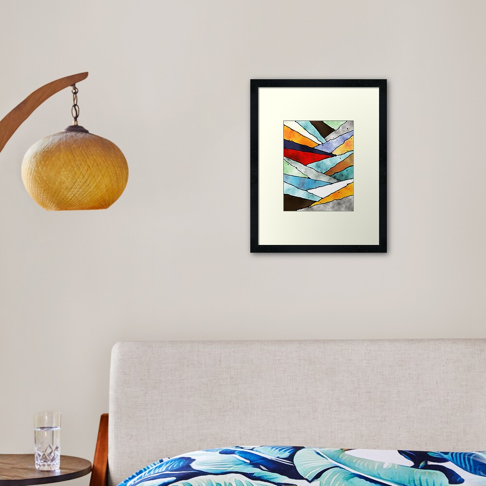 Angles of Textured Colors Framed Art Print